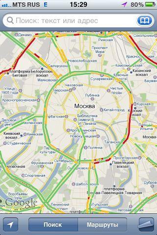 Запущена поддержка пробок в Google Maps
