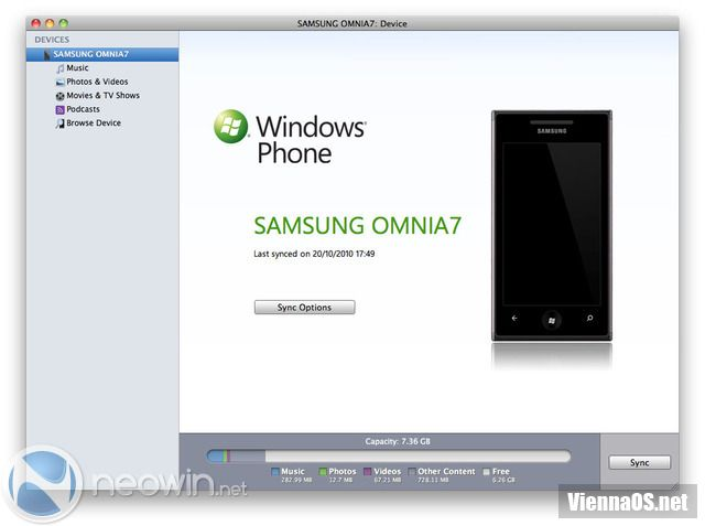 Windows Phone 7 Connector для Mac