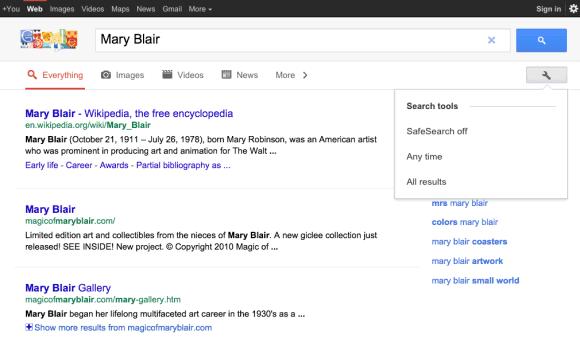 Google тестирует поиск для планшетов