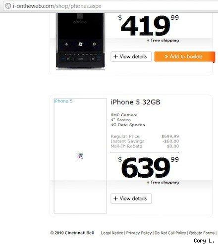 Американский оператор связи опубликовал информацию о iPhone 4S и iPhone 5