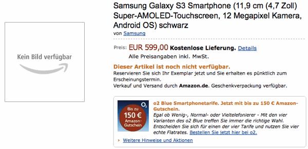 Amazon открыл прием предзаказов на Samsung Galaxy S3