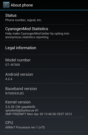 Выход CyanogenMod 9 для Samsung Galaxy Note