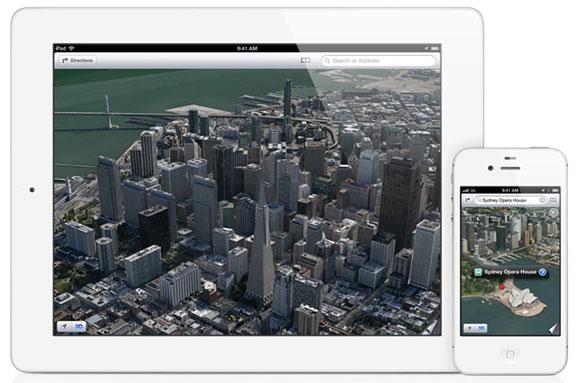 3D карты Apple запустили на iPhone 4