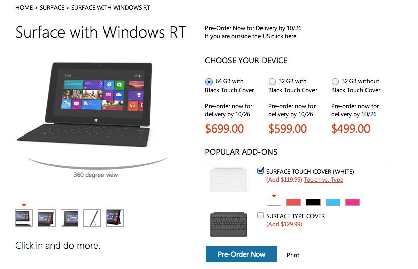 Официальные цены Microsoft Surface с Windows RT