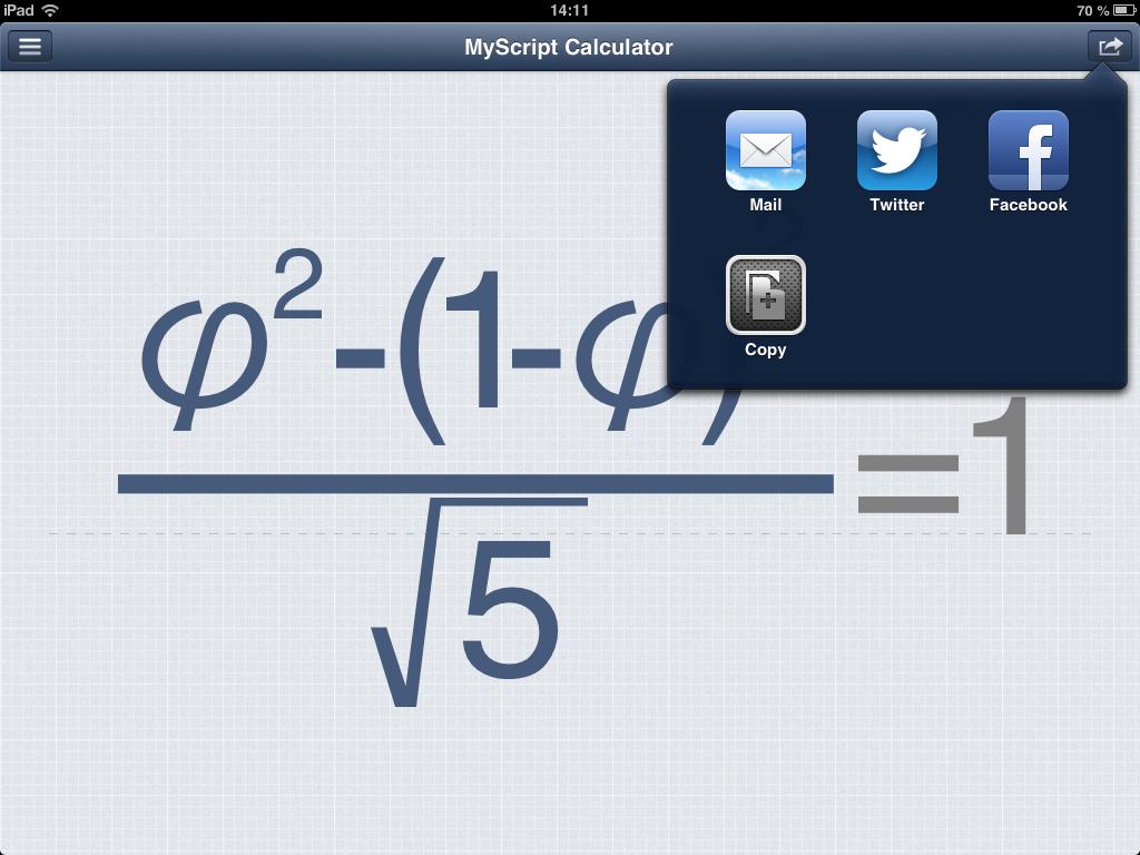 MyScript Calculator - калькулятор с рукописным вводом для iOS и Android [Free]