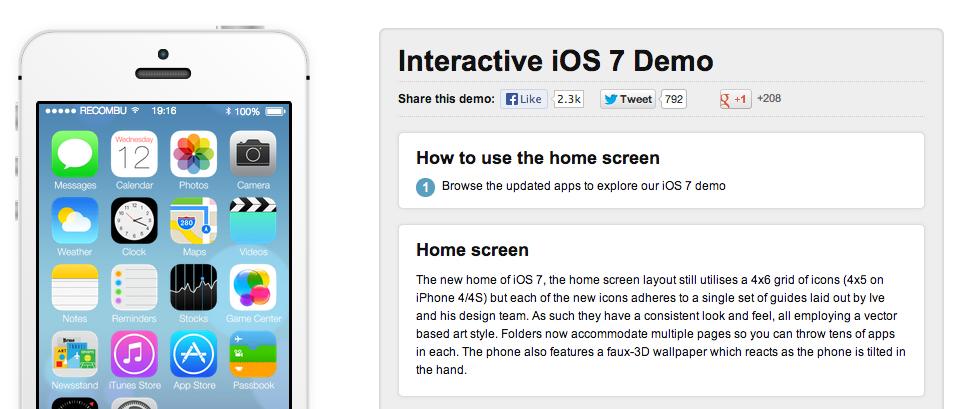 Интерактивная демонстрация iOS 7