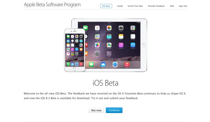 Apple опубликовала iOS 8.3 beta 3 и запустила публичное бета-тестирование