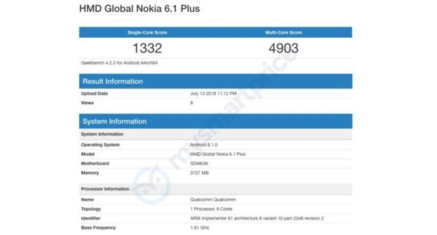 Характеристики смартфона Nokia 6.1 Plus засветились вGeekbench